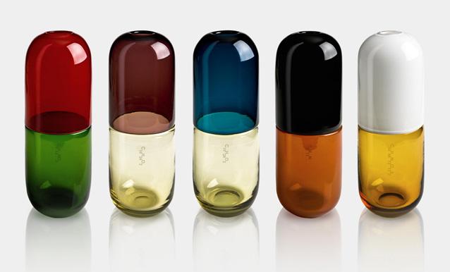 Collection de vases Happy Pills par Venini et Fabio Novembre.